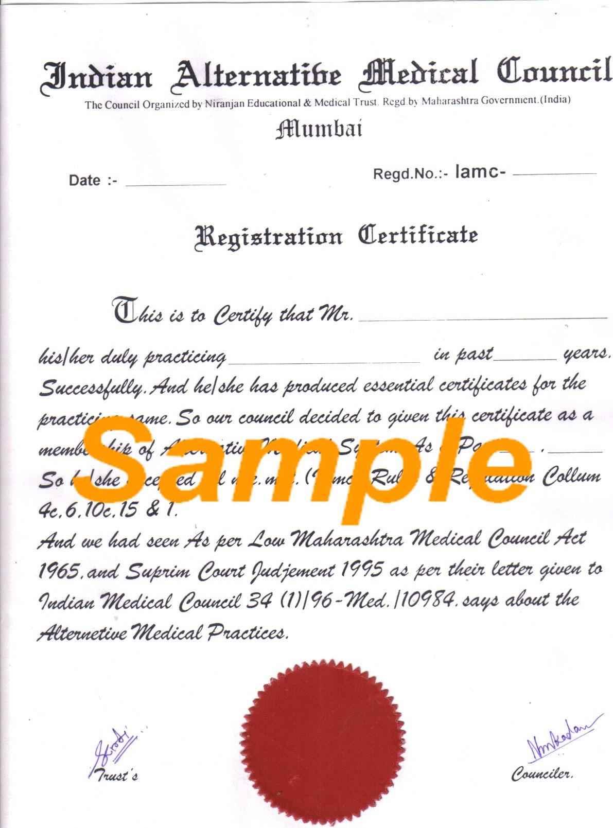 Registration Certificate Registration Certificate